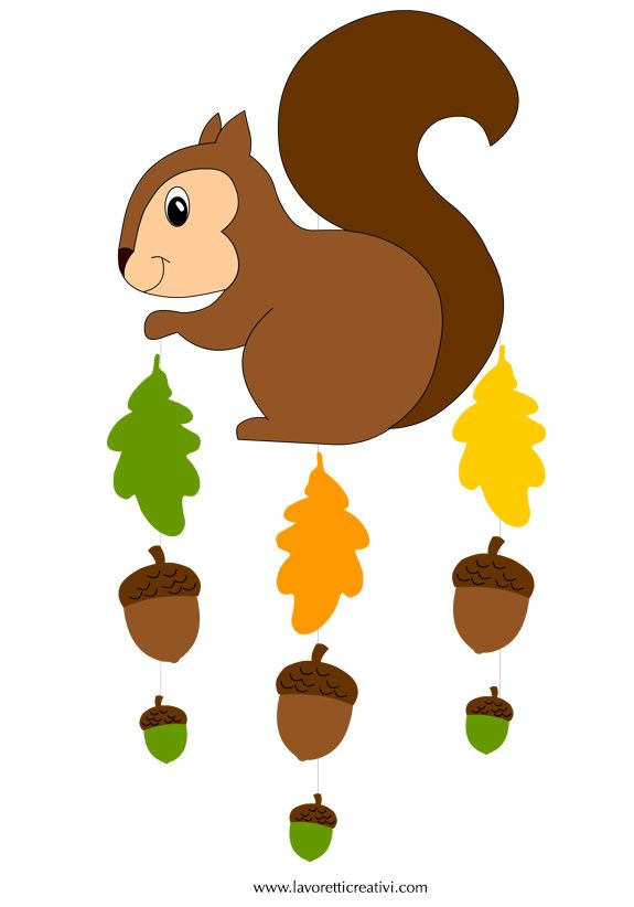 Pendente con scoiattolo, ghiande e foglie da attaccare sulle finestre o sulle pareti della classe nel periodo autunnale. Non dimentichiamo però anche la casa; i bambini adorano questi lavoretti. At...