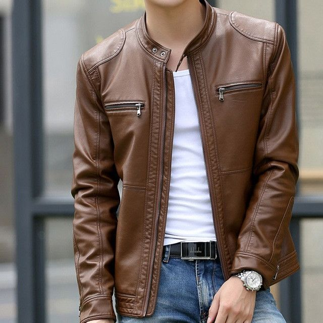 Men's Slim Leather Biker Jacket