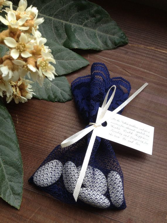 Lace Favor Bag Blue Bags Italian Wedding Favors