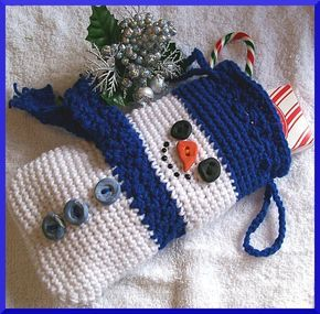 18 Patterns for #Crochet #Christmas Gift Bags, Boxes and Pouches @craftsy - Snowman Gift Bag via Craftsy member CrochetSal's.