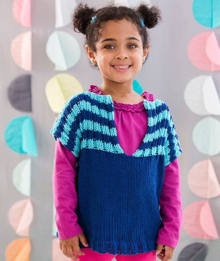 Child s Fashion Vest Free Knitting Pattern in Red Heart Yarns New, New Free...
