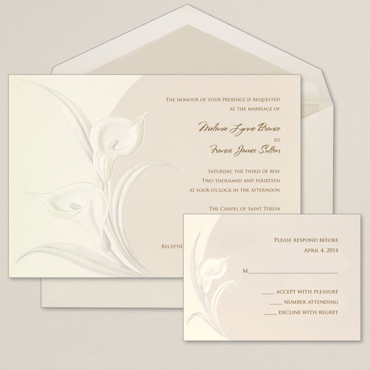 sample spanish wedding invitations%0A The Classic Calla Wedding Invitation is an embossed wedding invitation  The  invitation showcases calla lilies