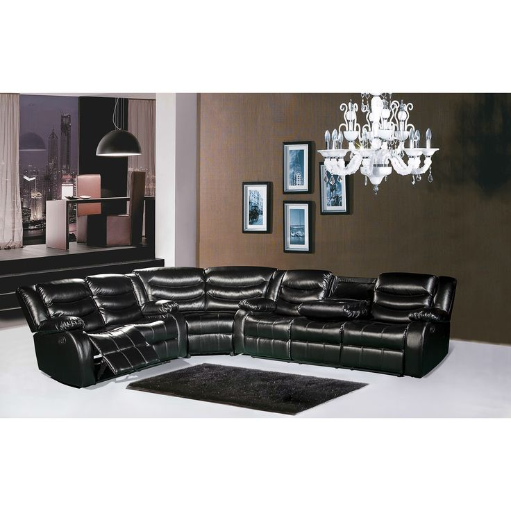Meridian Gramercy Leather Reclining Sectional Sofa (Black Sectional)  (Bonded Leather) Part 69