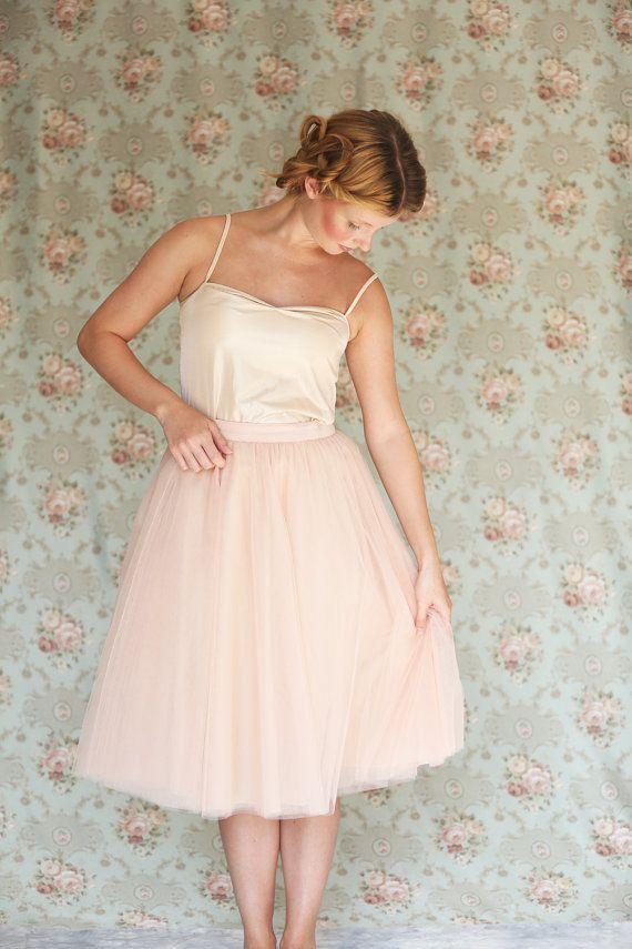 Women's blush pink knee length tulle skirt / adult tutu peach ballerina skirt  - made to order