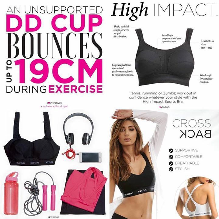 Stay supported whether it's low or high impact activity! Intimo has 4 bras in our active wear from yoga to running. The BEST sports bras I have ever worn!! #loveintimo #staysupported #keepthegirlsincontrol