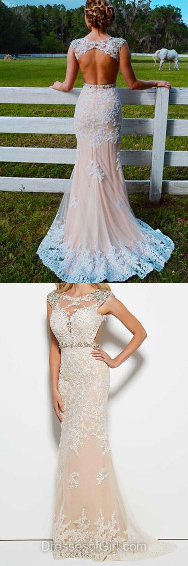 Champagne Prom Dress, Tulle Prom Dresses, Long Evening Gowns, Open Back Party Dresses, Mermaid Formal Dresses