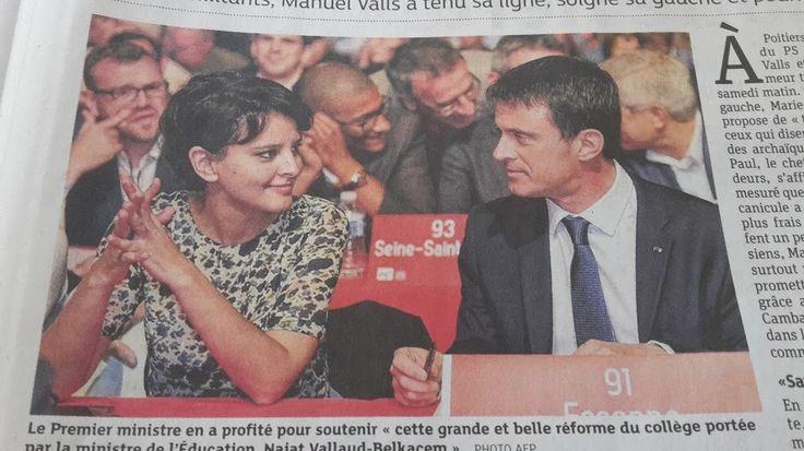Photo AFP de la page 5 des DNA du 7 Juin 2015La photo AFP du dernier congrès PS à Poitiers en dit long sur les nouveaux rapports entre deux ministres: Manuel Valls et Najat Vallaud-Belkacem se lancent un regard qui semble dépasser des liens professi...
