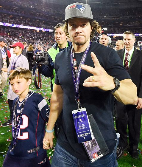 Mark Wahlberg and his son Brendan celebrated the New England Patriots' Super Bowl win after the game inside the University of Phoenix Stadium Feb. 1.