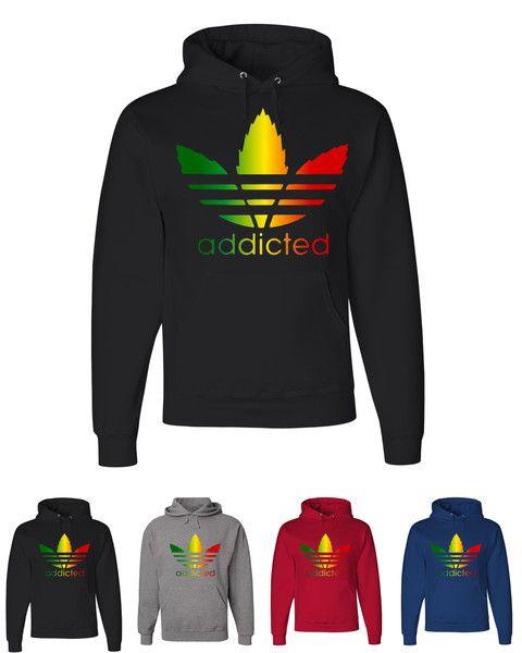 Addicted Rasta Colors Design Hooded Sweatshirt From $ 27.99