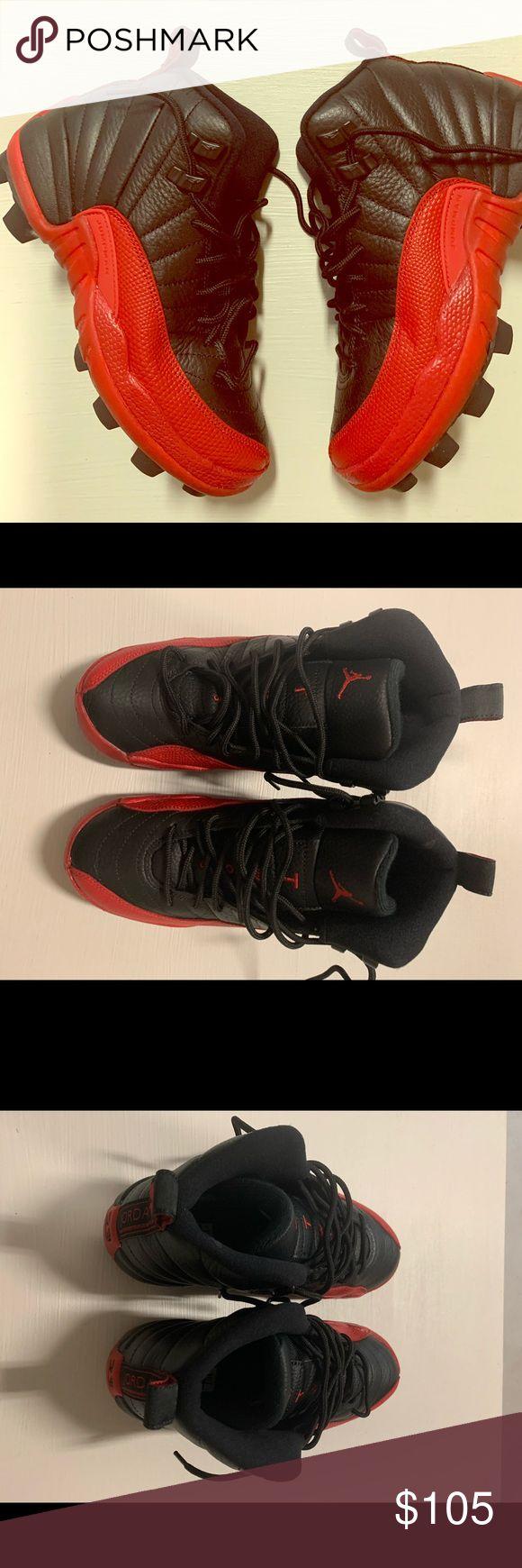 CUSTOM Jordan 12 FluGame Cleats CUSTOM football cleats, Jordan 12 Flu Game, Sz 4.5 Jordan Shoes Sneakers