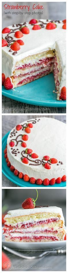 This is THE Strawberry Cake!! It calls for 1 1/2 lbs of fresh strawberries & the whipped cream cheese frosting is simple & delicious. | http://natashaskitchen.com