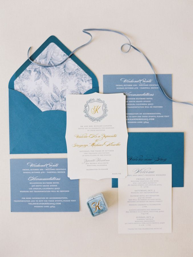 elegant black tie wedding with outdoor ceremony | shades of blue wedding invitation suite with floral envelope liner