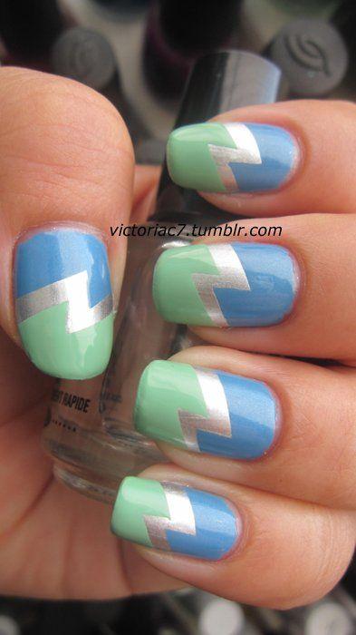This is such a cute color palette!: Lightning Bolt, Nails Design, Bolt Nails, Blue Green, Colors Palettes, Lighten Bolt, Nails Art Design, Art Victoriac7, Chevron Nails