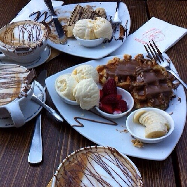 black coffee dessert classic belgian waffles ice cream bananas