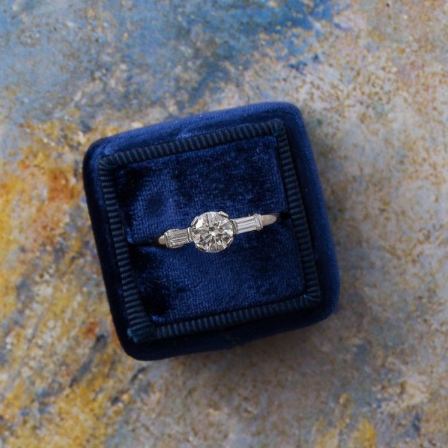 Classic vintage 1950's diamond and platinum engagement ring <3