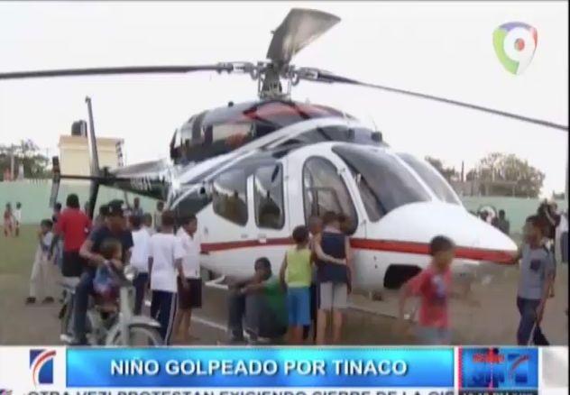 Niño Es Golpeado En La Cabeza Por Un Tinaco Cuando El Ministro De Obras Públicas Pasaba En Un Helicóptero #Video