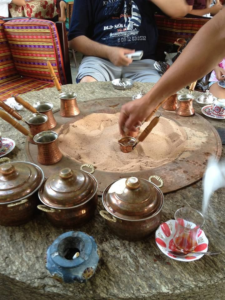 "From Ozlims Turkish Table...""Slow cooked Turkish coffee on warmed sand in Ephesus, Izmir - special thanks to dear Ozlem Ergun Ilkbag; my grandmother used to cook hers on slow burning charcoal ashes, the taste is amazing."""