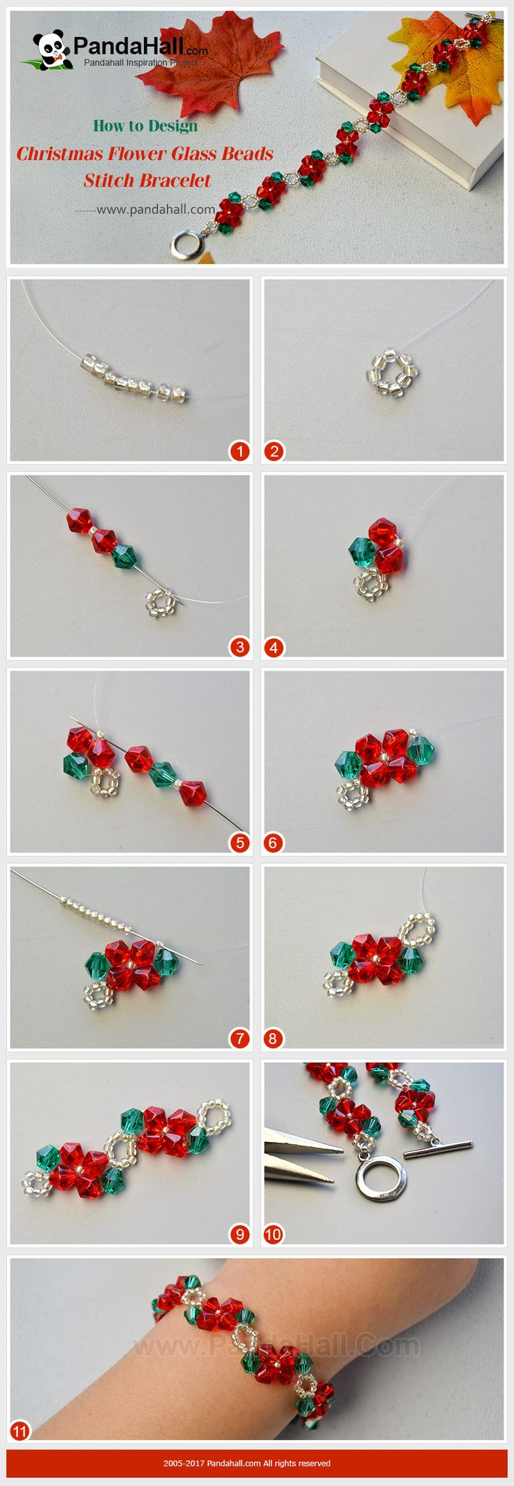 PandaHall Christmas Gift----Christmas Flower Glass Beads Stitch Bracelet Do you wanna make your Christmas special? Then you can make this flower glass beads stitch bracelet for yourself or friends as gifts. Follow me to give a nice shot! #PandaHall #bracelet #jewelry #Christmasjewelrymaking #tutorial #diy #craft #glassbeads