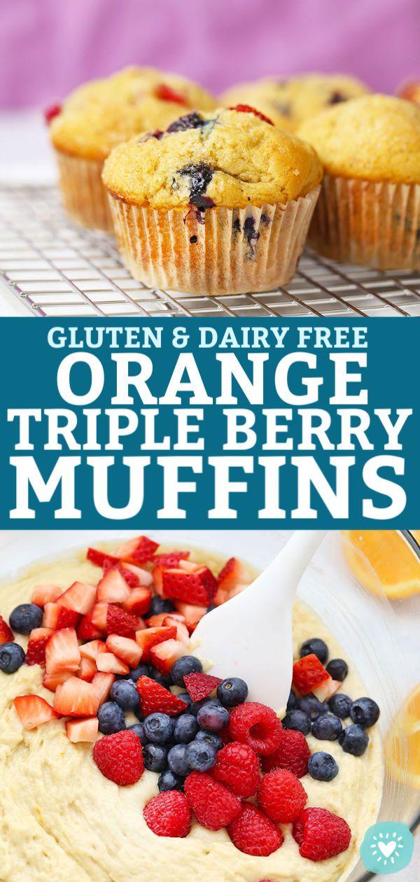 Orange Triple Berry Muffins (Gluten Free, Dairy Free)