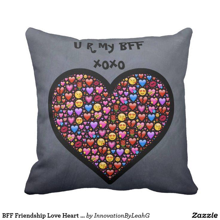 BFF Friendship Love Heart Emoji Gift Customizable Throw Pillow