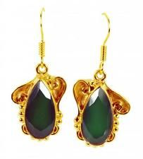 Green onyx Copper beauteous indian Earring Green L-1.5in UK gift