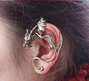 Korean fashion jewelry Gothic rock punk dragon earrings heavy metal dragon ear piercing ear no perforation