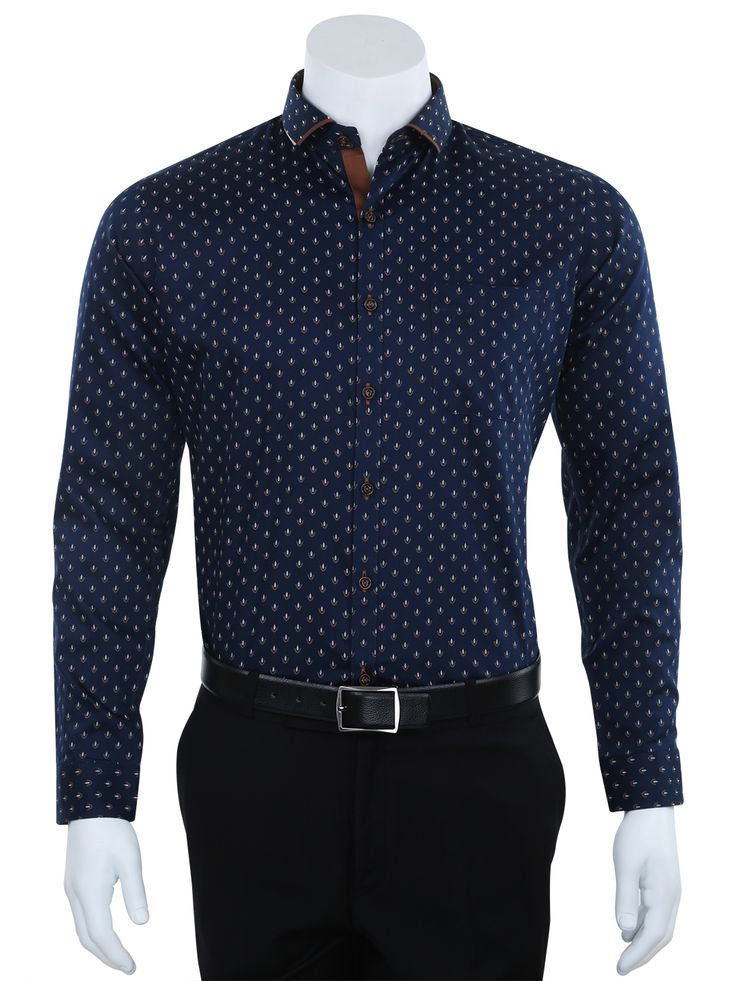 I Party Printed Navy Cotton Slim Fit Party Wear Shirt For Men