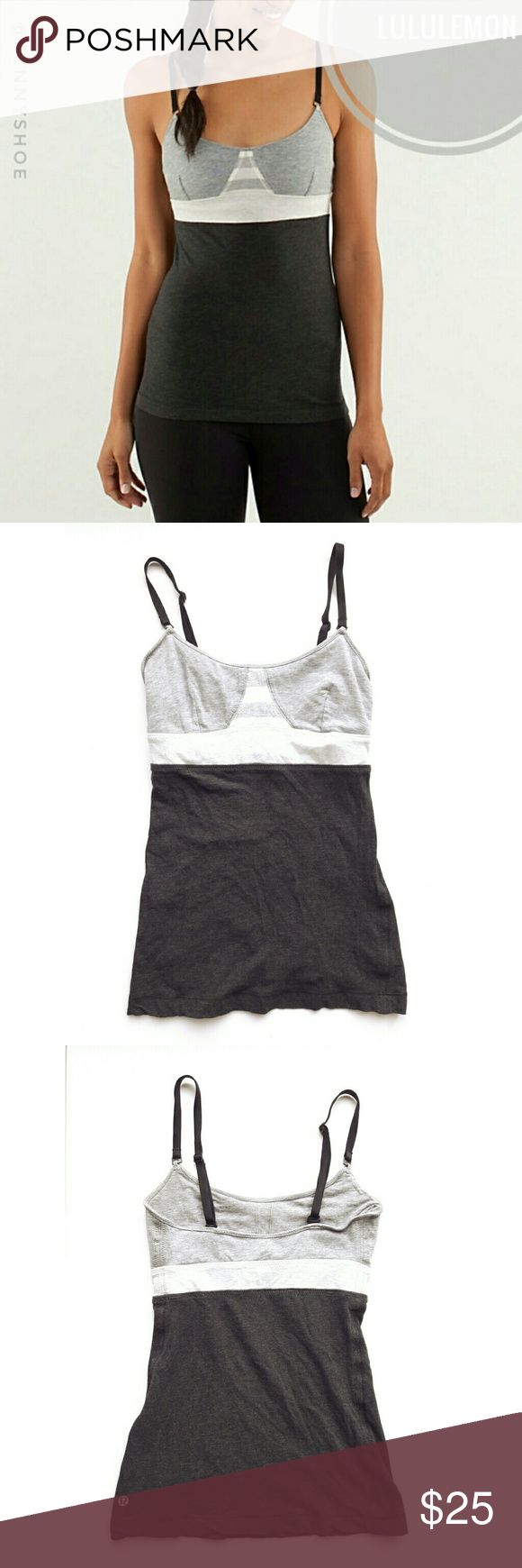 """{lululemon} workout tank top An authentic """"contentment triangle"""" top from Lululemon Athletica  Girly and fun colorblocked design  Built in shelf bra- unpadded, but has openings where you can add in soft cups if you would like (not included)  Gently worn Size 2- tags have been cut for comfort lululemon athletica Tops Tank Tops"""