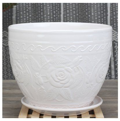 Ceramic Home Garden Modern White Flower Planter Pot with Saucer Tray  Outside Rose Figurine Design *** Want to know more, click on the image.Note:It is affiliate link to Amazon. #night