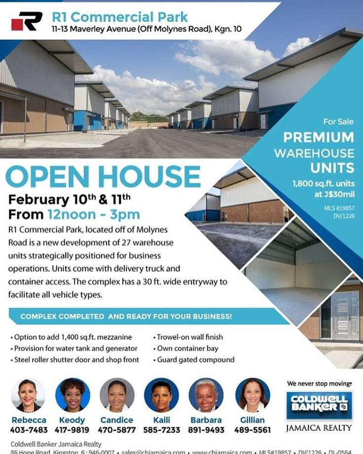 It's commercial time! R1 Commercial Park, located off of Molynes Road, is a new development of 27 warehouse units strategically positioned for business operations.  View the units at the OPEN HOUSE this weekend - February 10th & 11th.  #ColdwellBankerJamaica #Investment #Property #RealEstate #Jamaica #Kingston #RealEstateJamaica #Commercial #CBJRealty #ColdwellBanker #JARealty