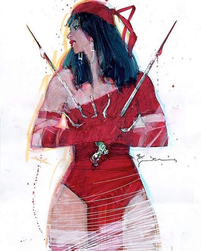 Pra começar bem esta sexta-feira, Elektra por Bill Sienkiewicz!!!! #elektra #netflix #marvelcomics #marvel #hq #comics #leiamaisquadrinhos #gibi #frankmiller #billsienkiewicz