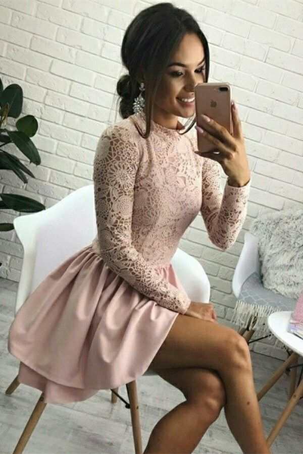 pink short homecoming dresses, long sleeves short prom party dresses, simple lace formal dress with sleeves