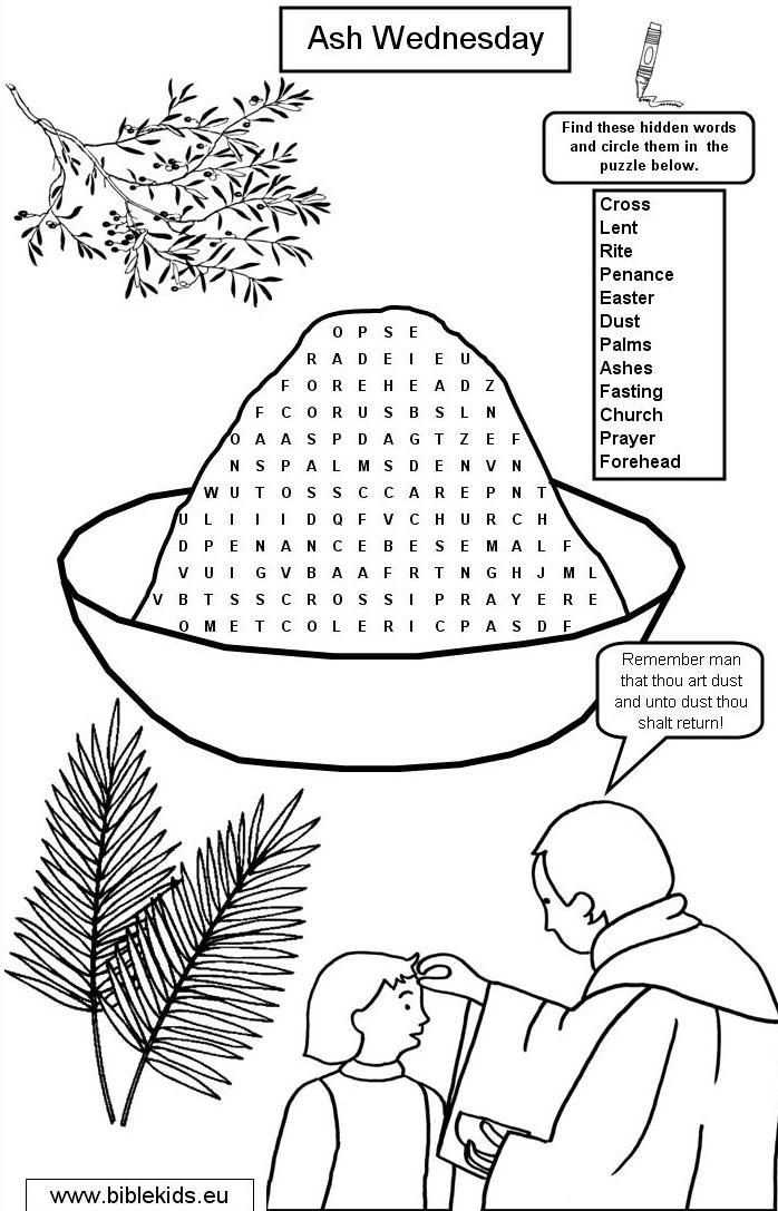 Ash Wednesday Word Search Lenten Season Ideas Lent Coloring Pages Worksheets