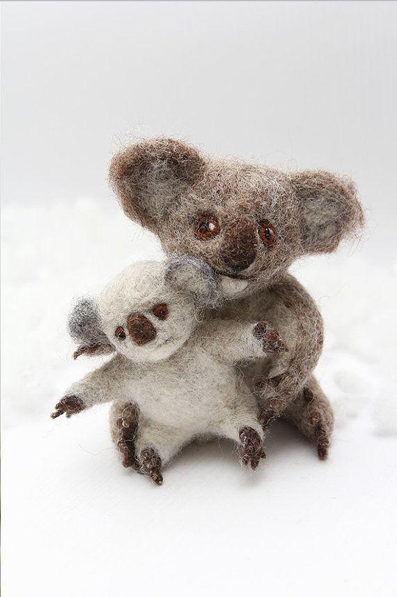 Koala felted figurine family of two koala bears by FeltPetsShop
