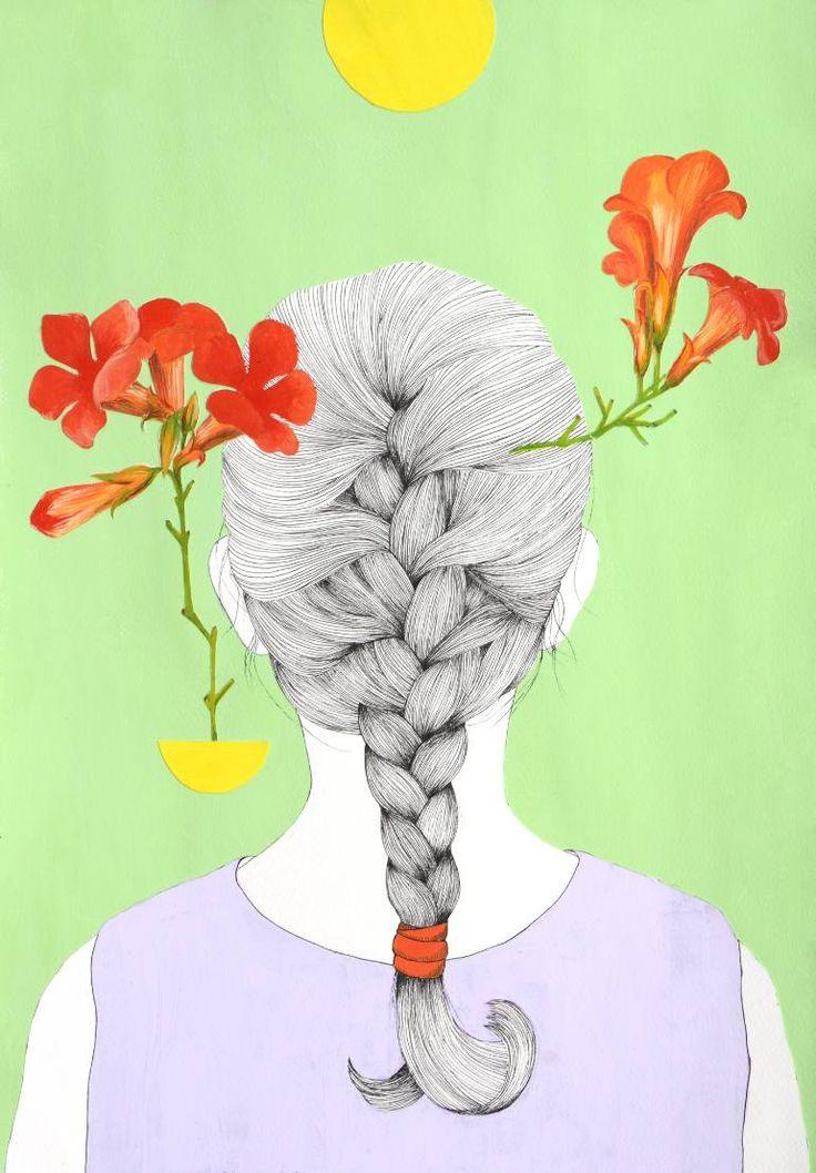 "Saatchi Art Artist Alexandra Calin; Collage, ""Braid with red flowers"" #art"