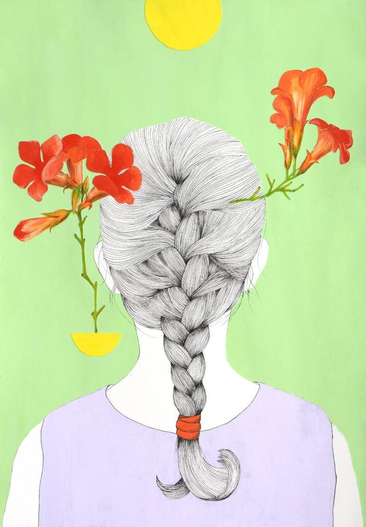 "Saatchi Art Artist Alexandra Calin; Collage, ""Braid with red flowers"" #art"