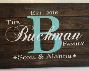 Christmas Family Name Sign Monogram Rustic Inspired Wood Sign Canvas