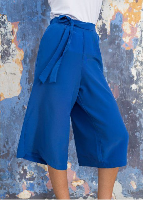 Calça pantacourt, azul cobalto
