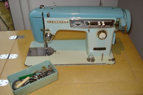 Retro Brother Sewing Machine In Work Table Cabinet Machines Pinterest Vintage And Patterns