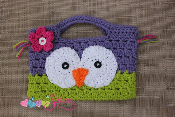 A small owl purse/handbag is so cute and perfect for a girl of any age. This would be so cute for any little girl to carry her important things in. This bag is a great size to carry around a DS of any size, wallet, small toys, makeup, and so many more options!  Purse measures: 8 inches wide X 6 inches tall  This bag was made with 100% cotton yarn and is machine washable, for best results lay flat to dry. I can make this purse in any color. This purse is made to order and will ship approx...