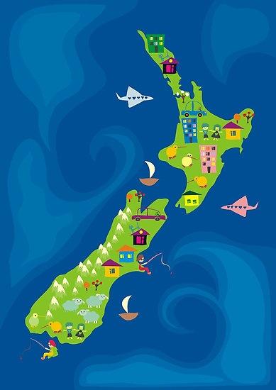 cartoon map of New Zealand by Anastasiia Kucherenko