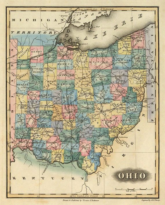 Old map of Ohio Fine giclee reproduction of by AncientShades