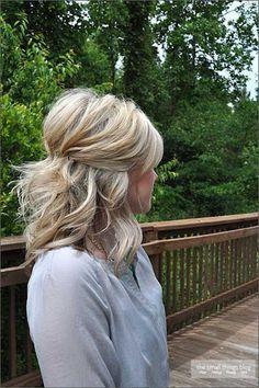 Simple Half Updo Short Hair