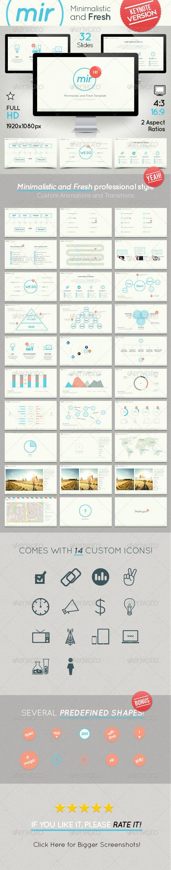 Mir- Minimalistic and Fresh Keynote Template | Keynote theme / template