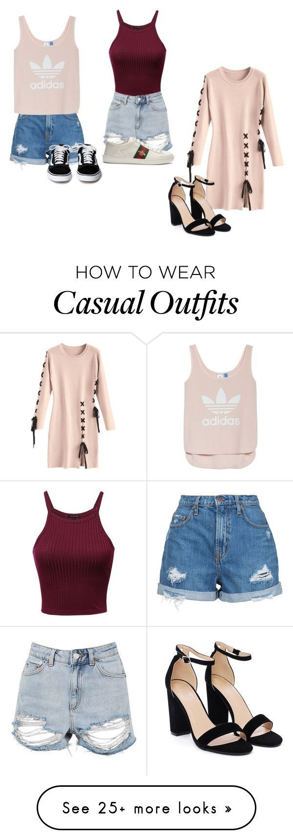 """""""Casual"""" by tgamma11 on Polyvore featuring Topshop, Nobody Denim, Gucci, Nasty Gal and adidas #casualsummeroutfits"""