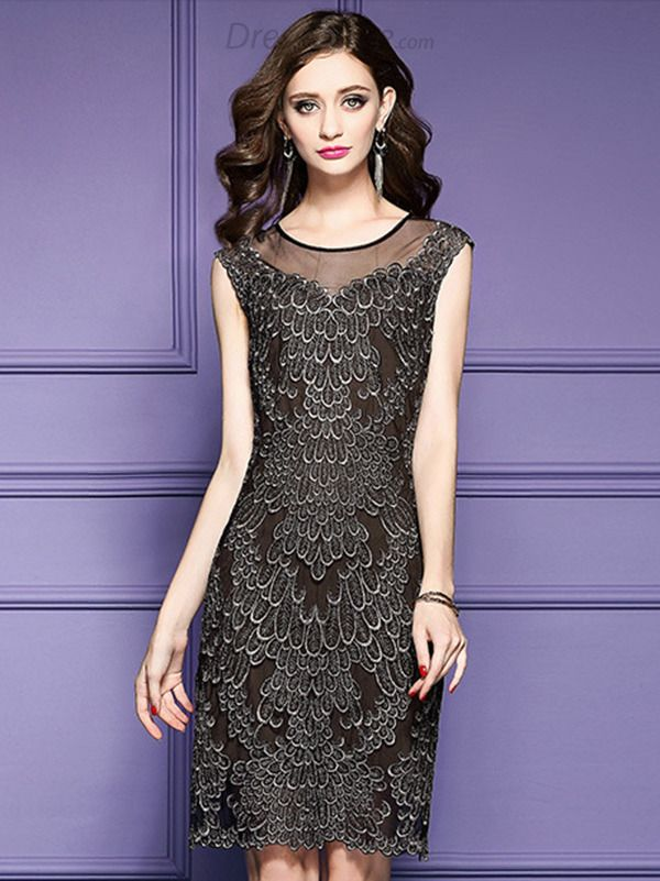d622ec624383f9 Buy Party Embroidery O-Neck Sleeveless Mesh Bodycon Dress at DressSure.com  Color Black