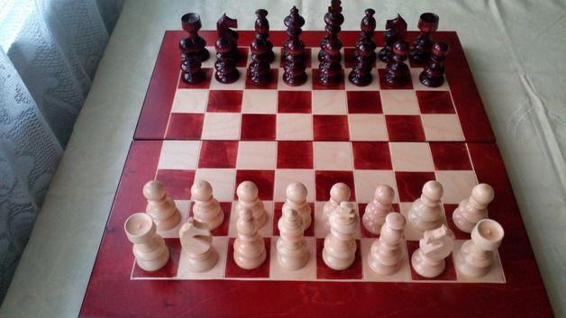 Juegos - Nuevo color cereza juego de ajedrez de madera - hecho a mano por HandgefertigteSchach en DaWanda