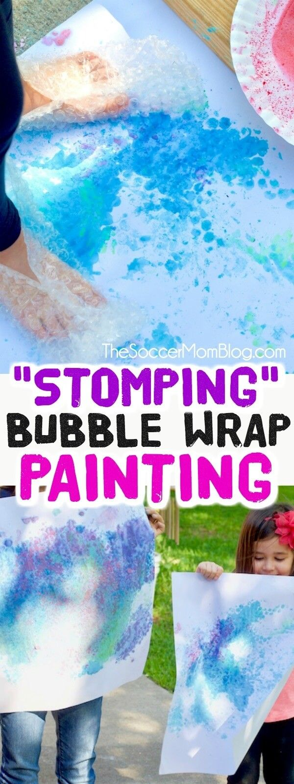 Get active and create vibrant art at the same time with this stomping bubble wrap painting! Click for homemade paint recipe and how to set up this fun outdoor art activity for kids. #art #painting #kids #kidsactivities via @soccermomblog