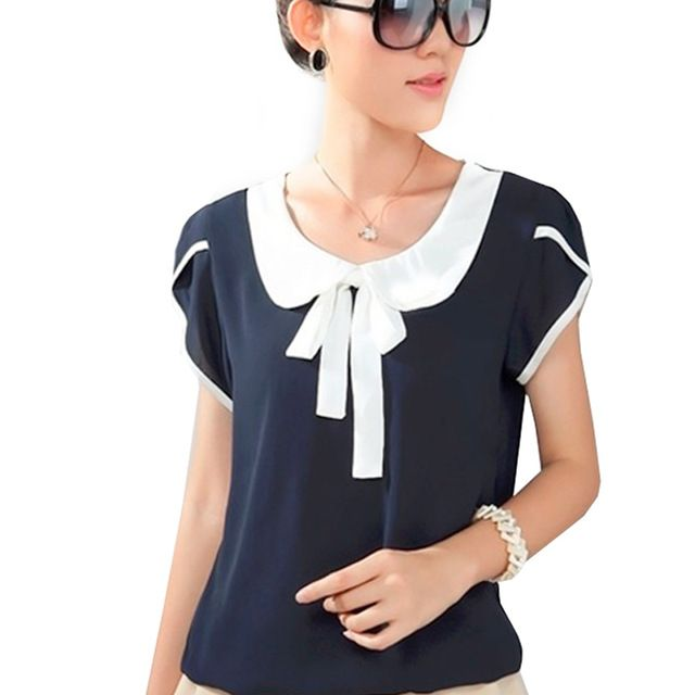 Arco camisa Das Mulheres chiffon blusas plus size corpo elegante peter pan collar blusa azul 3xl 4xl xxxl blusa blusa WC040