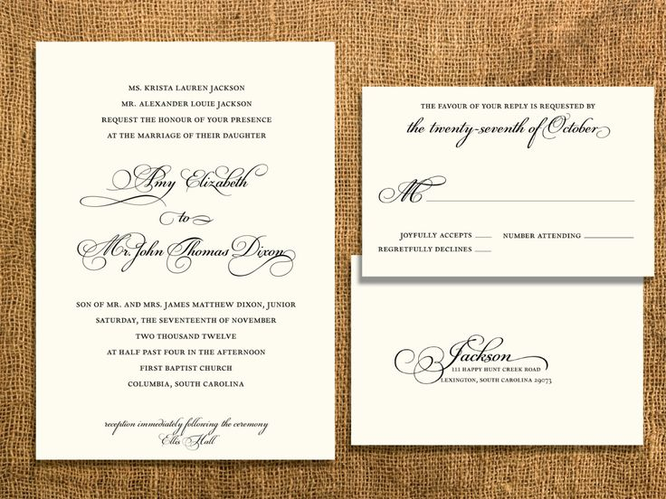 Traditional Wedding Invitation Templates: Traditional Wedding Invitation With Postcard RSVP By